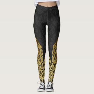 Goldschwarze moderner Entwurfs-Art Kanok Lai Leggings