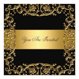 Goldschwarze Party Einladungs-Blumenrahmen Karte