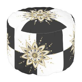 Goldschwarze u. weiße Mandala-geometrischer Hocker