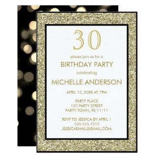 Goldschwarzes Glamour-Geburtstags-Party 12,7 X 17,8 Cm Einladungskarte