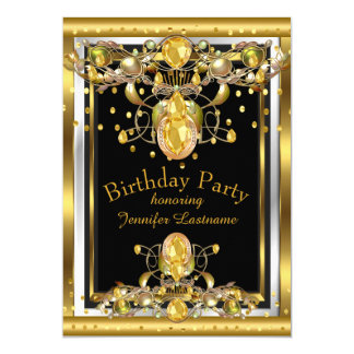 Goldschwarzes Jewelled Geburtstags-Party Einladung 12,7 X 17,8 Cm Einladungskarte