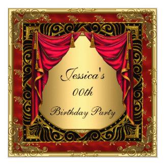 Goldschwarzes rotes retro Geburtstags-Party Karte