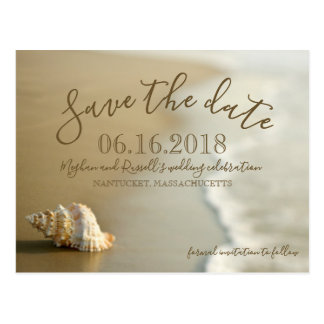 Goldseashell-Strand-Hochzeits-Save the Date Postkarte