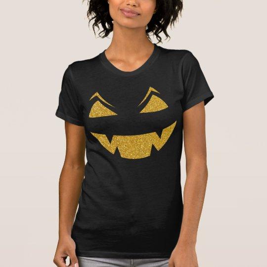 Goldsequins-beängstigendes geschnitztes Gesicht T-Shirt