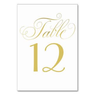 Goldskript-Karte der Hochzeits-Tischnummer-| Karte