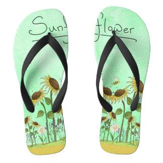 Goldsommer-Sonnenblume-Illustration auf tadellosem Flip Flops