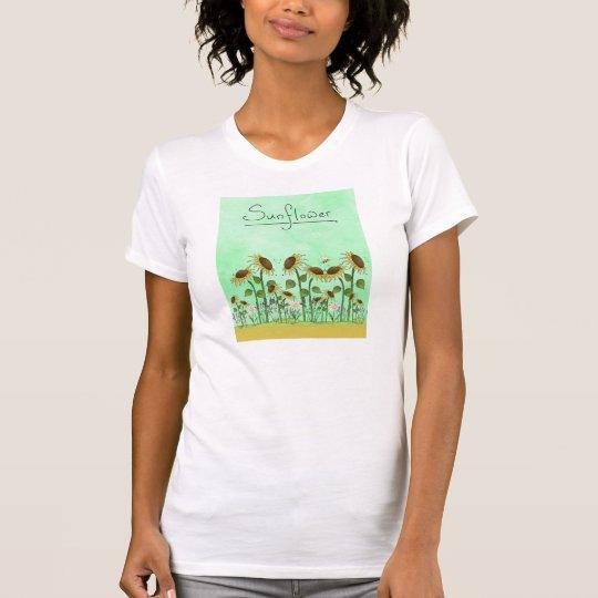 Goldsommer-Sonnenblume-Illustration auf tadellosem T-Shirt