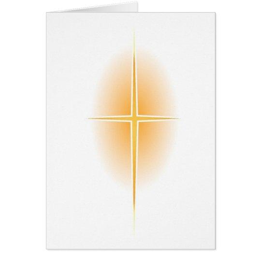 Goldstern-Kreuz mit Glühen Grußkarte