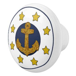 Goldsterne des GoldImitat-Glitter-Anker-  nautisch Keramikknauf