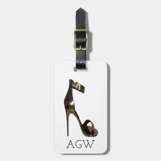 GoldStilett-Sandalen mit Ihrem Monogramm Gepäckanhänger