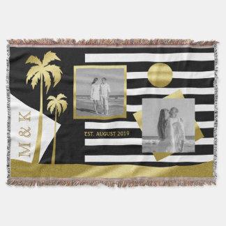Goldstrand-Schwarzes Stripes Instagram Decke