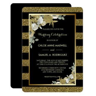 Goldstreifen-Bronze-Rosen, die Einladung Wedding