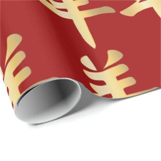 Goldsymbol-chinesisches Schaf-Ziegen-RAM tiefrot Geschenkpapier