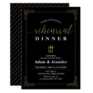 Goldtypographie-Hochzeits-Proben-Abendessen-Karte 12,7 X 17,8 Cm Einladungskarte