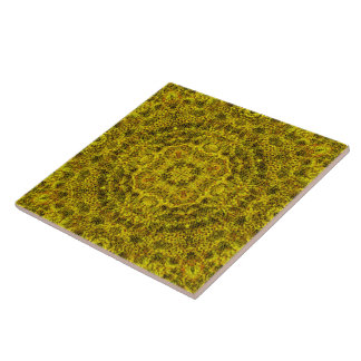 Goldweb mit Filigran geschmückte Mandala-Fliese Große Quadratische Fliese