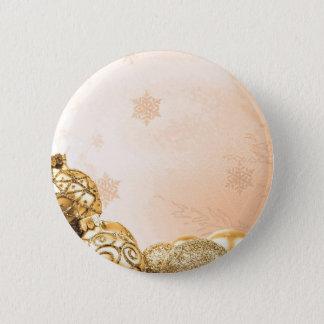 Goldweihnachtsverzierungen und -schneeflocken runder button 5,7 cm