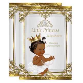 Goldweiße Perlen-Prinzessin Babyparty ethnisch Karte