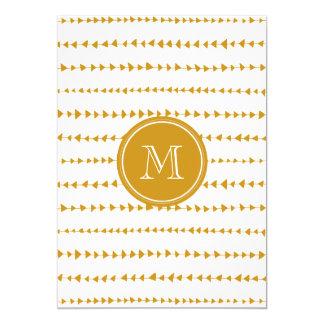 Goldweißes aztekisches Pfeil-Monogramm 12,7 X 17,8 Cm Einladungskarte