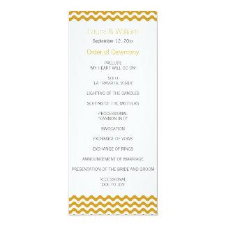 Goldwellen-Zickzack Hochzeits-Programm 10,2 X 23,5 Cm Einladungskarte