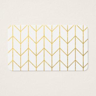 GoldZickzack weißer Hintergrundmoderner Chic Visitenkarten