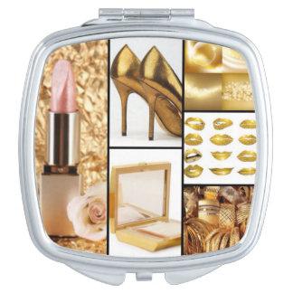 Goldzusatz-bezaubernde Mode-Collage Schminkspiegel