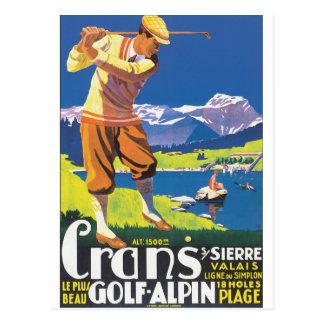 Golf Alpin Vintages Reise-Plakat Postkarten