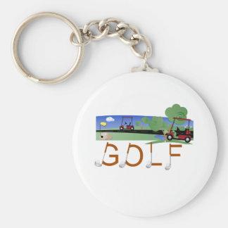 Golf mit Golfmobilen Schlüsselanhänger