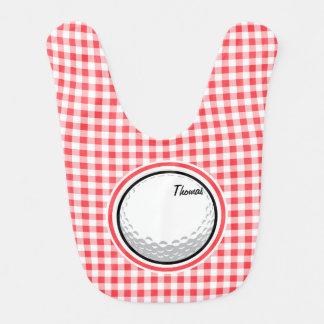 Golf; Roter und weißer Gingham Babylätzchen