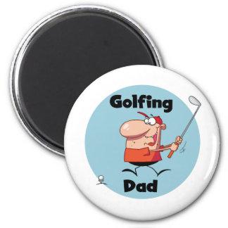 Golf spielende Vati-T-Shirts und Geschenke Runder Magnet 5,7 Cm