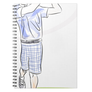 Golf spielender Cartoon Spiral Notizblock