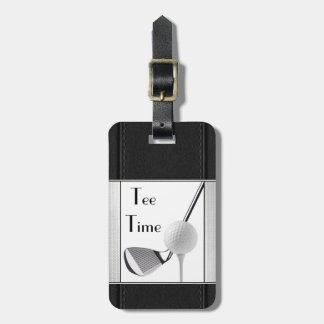 Golf spielendes T-Stück Zeit-Schwarz-Leder-Bild Gepäckanhänger