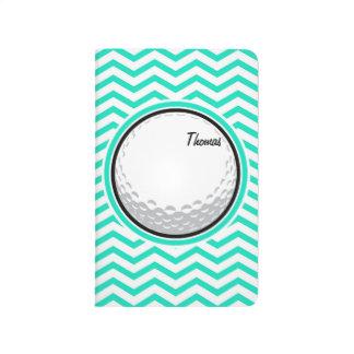 Golfball; Aqua-grünes Zickzack Taschennotizbuch