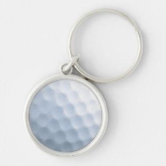 Golfball-Druck-Muster-Hintergrund Silberfarbener Runder Schlüsselanhänger
