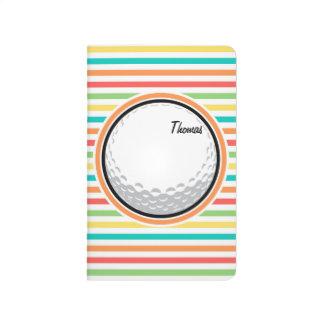 Golfball; Helle Regenbogen-Streifen Taschennotizbuch