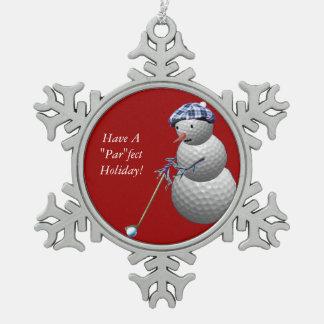 Golfball-Schneemann Schneeflocken Zinn-Ornament