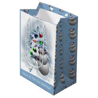 Golfball-Schneemann-Weihnachten Mittlere Geschenktüte