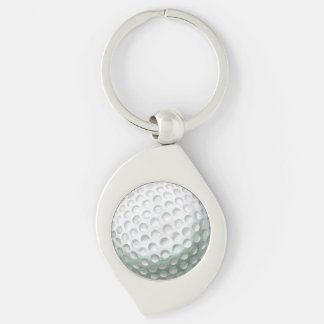 Golfball Silberfarbener Wirbel Schlüsselanhänger