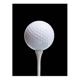 Golfball und T-Stück auf Schwarzem besonders Postkarte