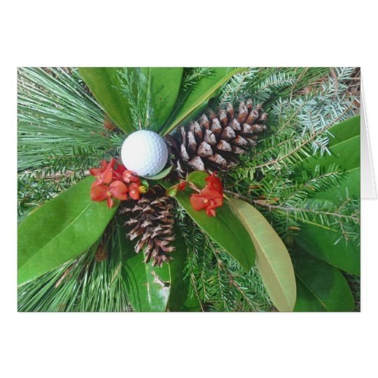Golfballkiefer Kegel und Evergreens Weihnachten Karte
