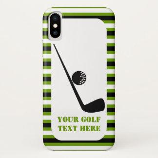 Golfclub- und Ballschwarzes, grüne Streifen iPhone X Hülle