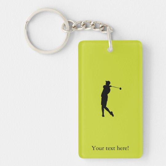 Golfspieler Beidseitiger Rechteckiger Acryl Schlüsselanhänger