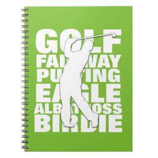 Golfspieler-Golf-Terminologie-Typografie Spiral Notizblock