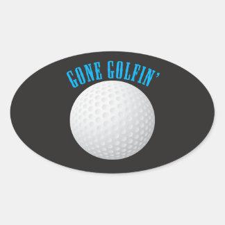 Golfspieler Golfball, Golf zu spielen gegangen Ovaler Aufkleber