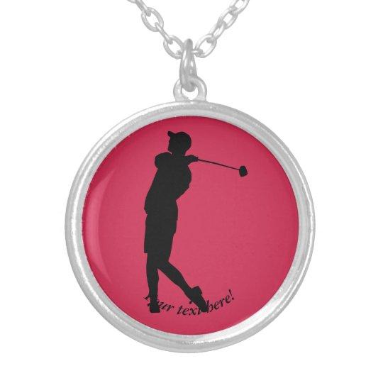 Golfspieler Halskette Mit Rundem Anhänger