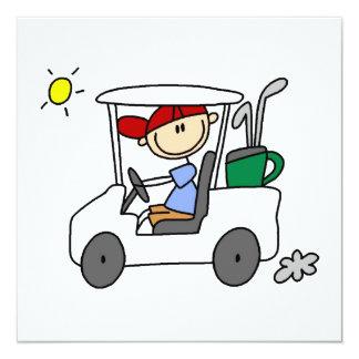Golfspieler im Golfmobil