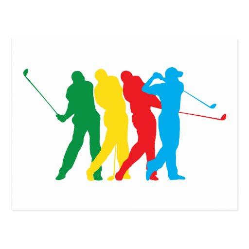 Golfspieler in der Bewegung Postkarte