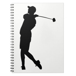 Golfspieler-Silhouette Spiral Notizblock