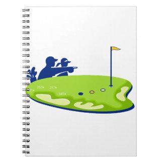 Golfspielercaddie-Golfplatz Retro Spiral Notizblock