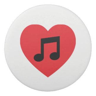 Gomme de coeur de note de musique