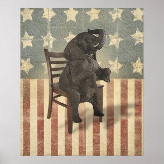 Gop-Elefant übernimmt das Stuhl-lustige politische Poster